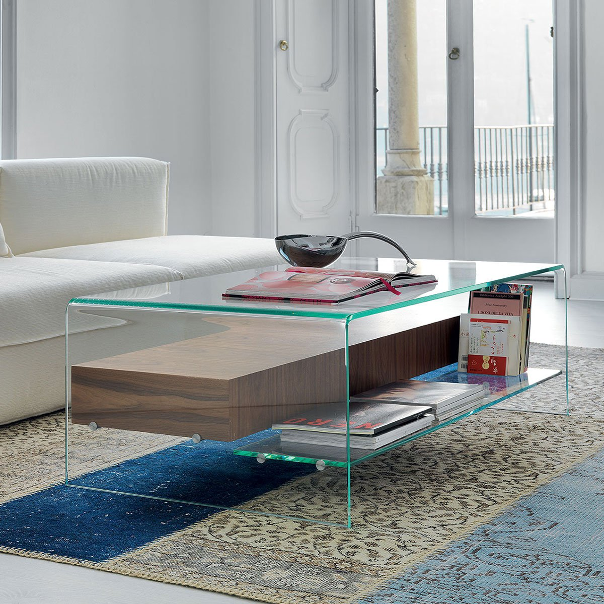 bridge glass coffee table with shelf and drawer - klarity - glass