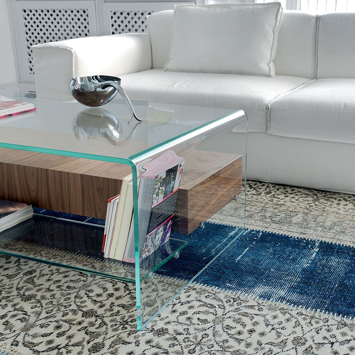 Bridge Glass Coffee Table With Shelf And Drawer