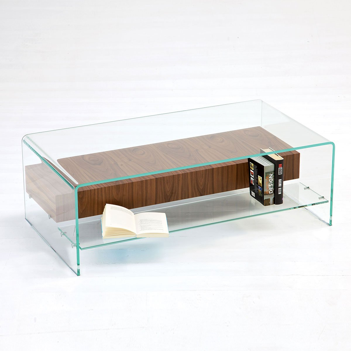 Bridge glass coffee table with shelf and drawer klarity for Glass furniture