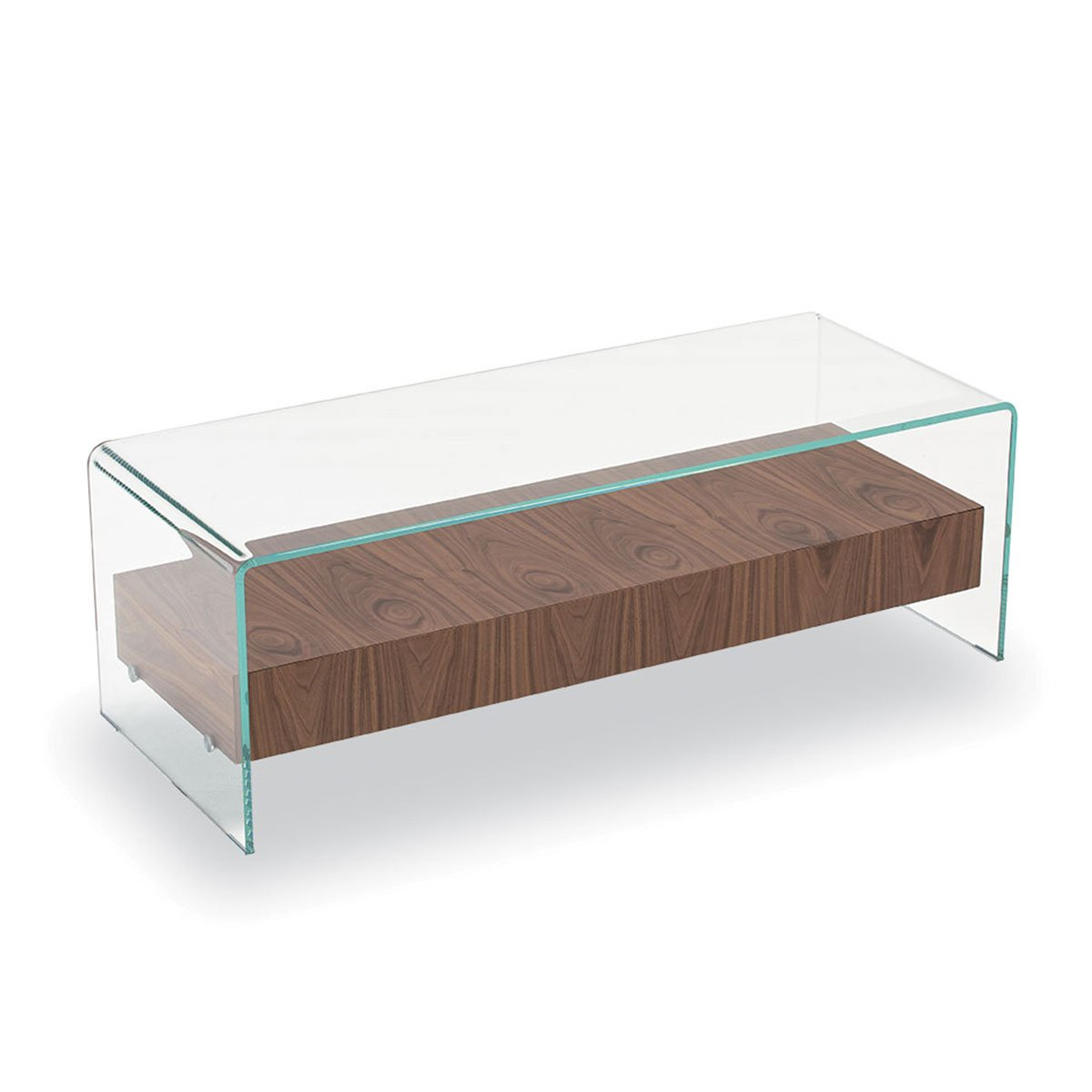 Bridge Glass Coffee Table With Wooden Drawer Klarity Glass Furniture