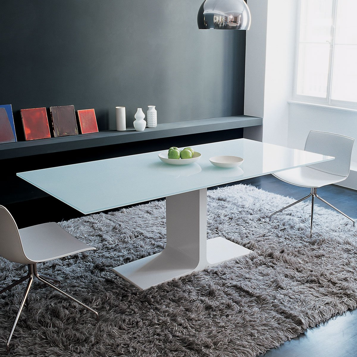 Palace Glass Dining Table With Central Base By Sovet Italia Klarity Glass Furniture