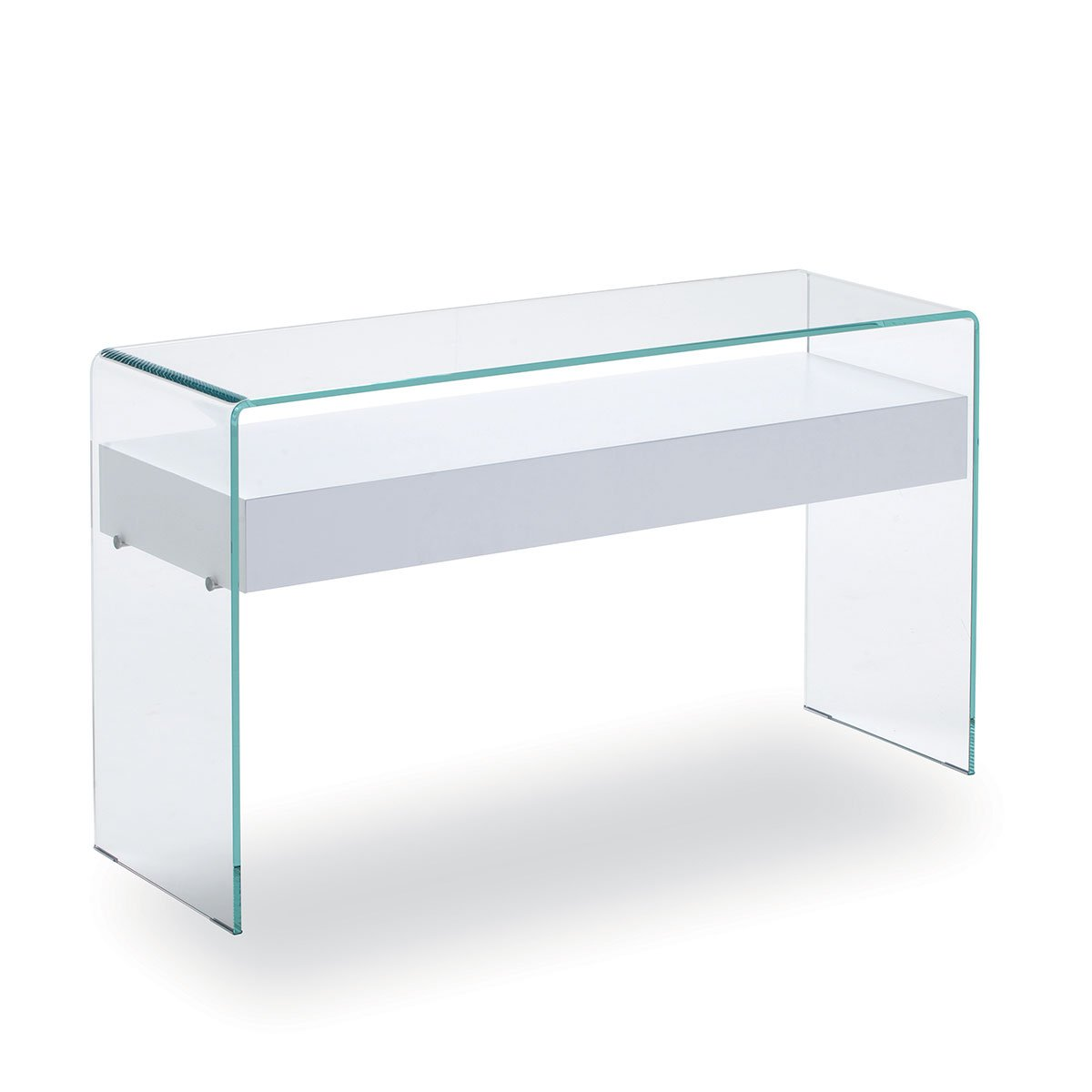 Hall table with drawer in glass klarity glass furniture for Glass furniture