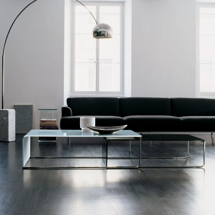 Nido Glass and Metal Side Table by Sovet Italia