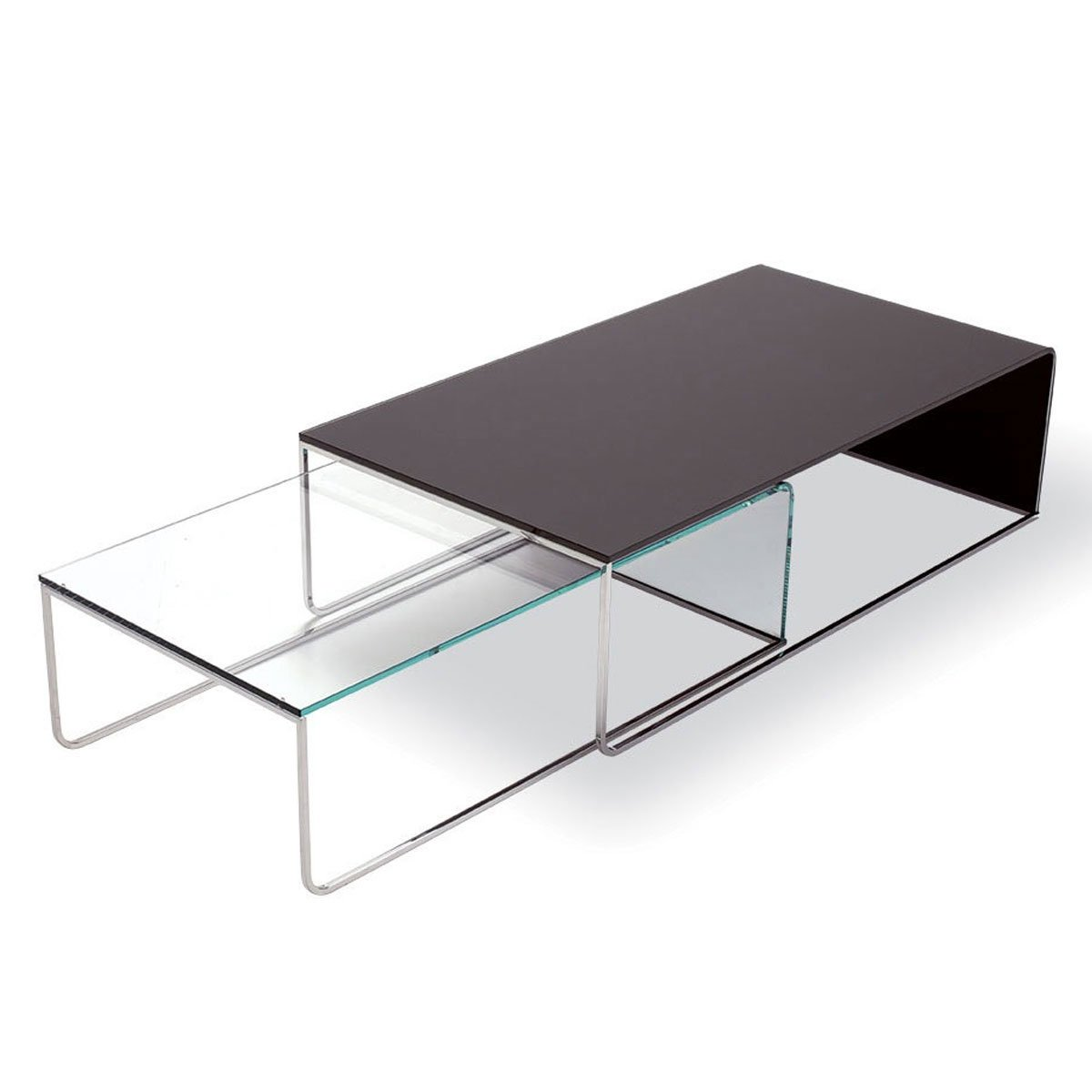 Nido glass and metal coffee table klarity glass furniture Metal and glass coffee table