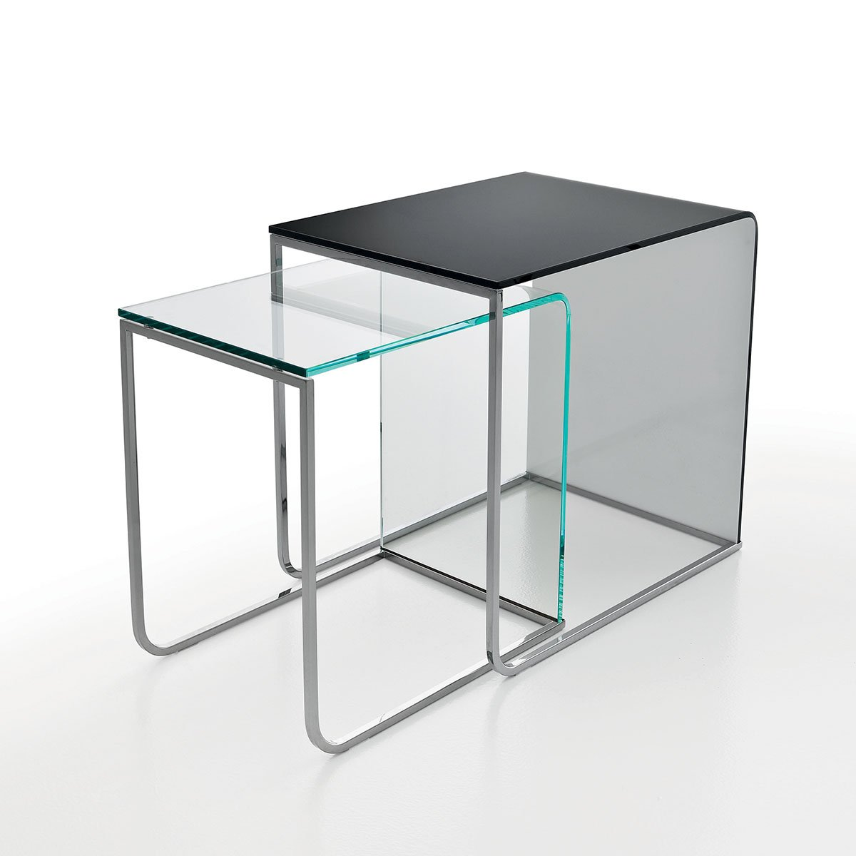 Nido glass and metal coffee table klarity glass furniture for Glass furniture