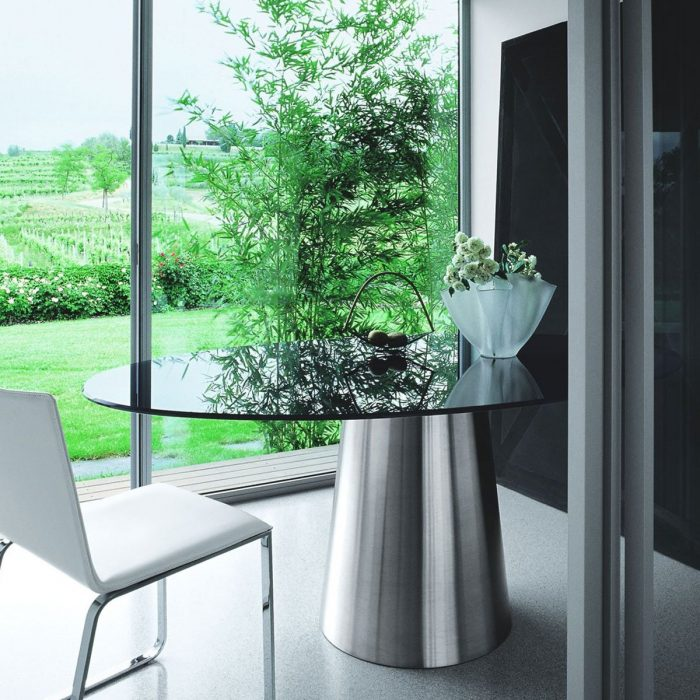 Oval-glass-and-metal-dining-table
