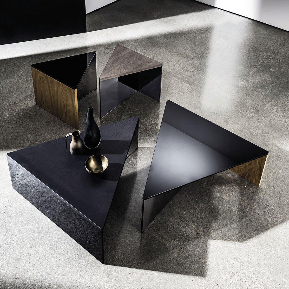 Regolo Triangular Glass and Wood Coffee Table
