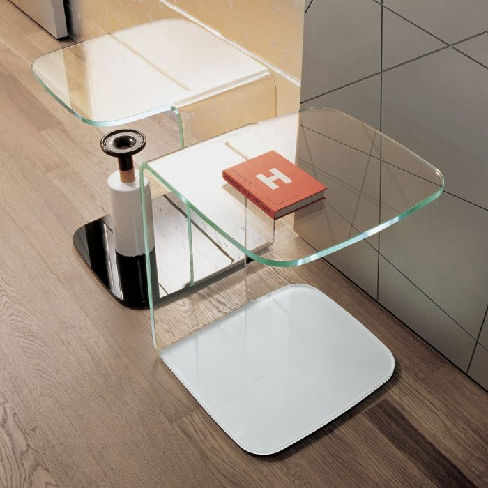 Shell Curved Glass Side Table by Sovet Italia