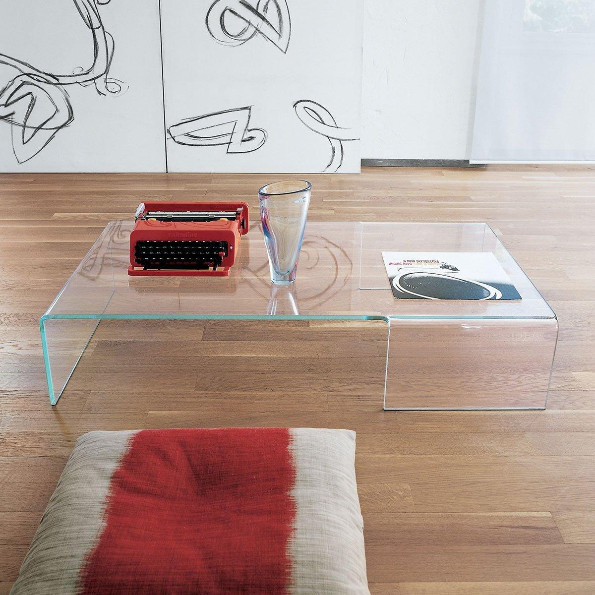 Spider curved glass coffee table klarity glass furniture - Mesas de centro modernas para sala ...