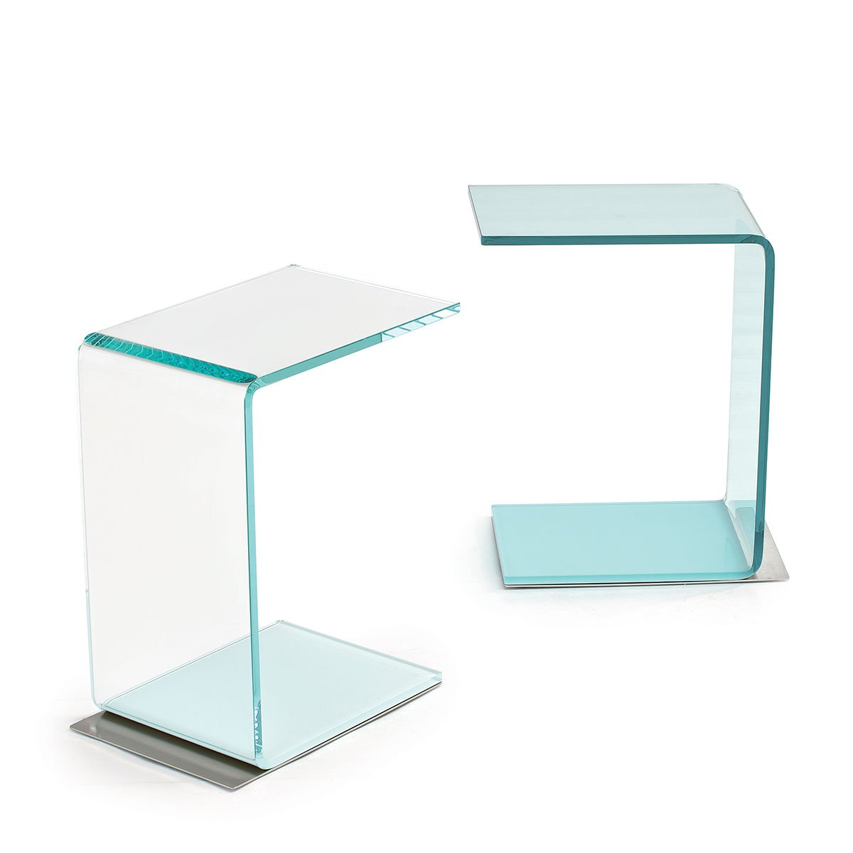 Swan curved glass table coloured base klarity glass for Glass furniture