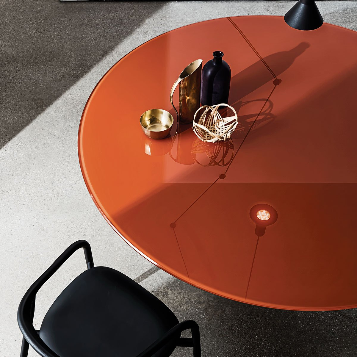 glass and metal dining table - totem - sovet italia