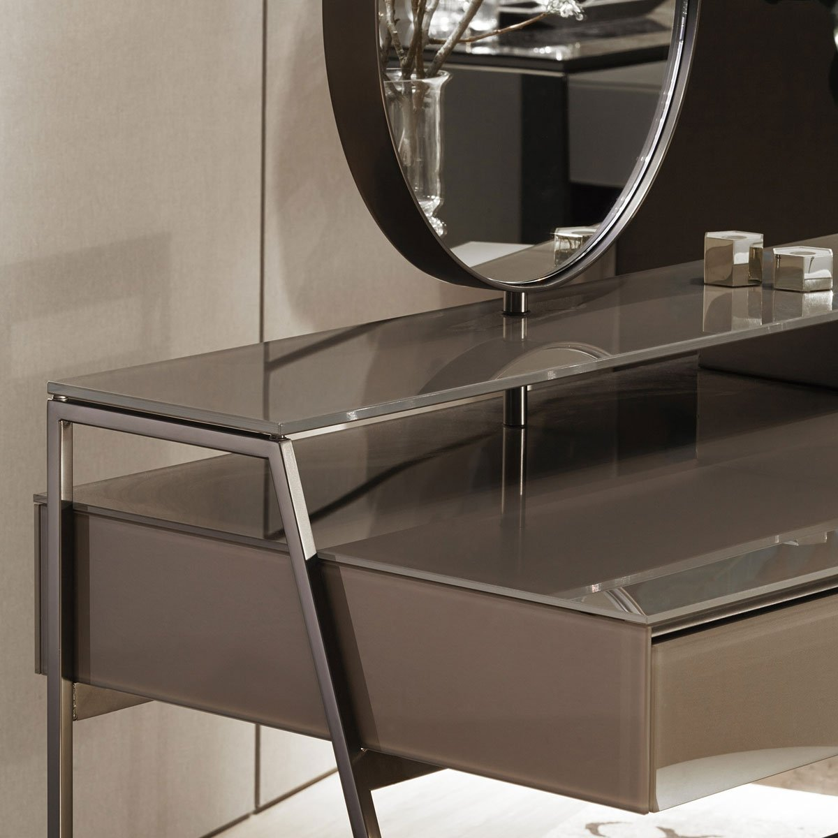 Venere glass desk with mirror by gallotti radice klarity glass furniture Mirror glass furniture