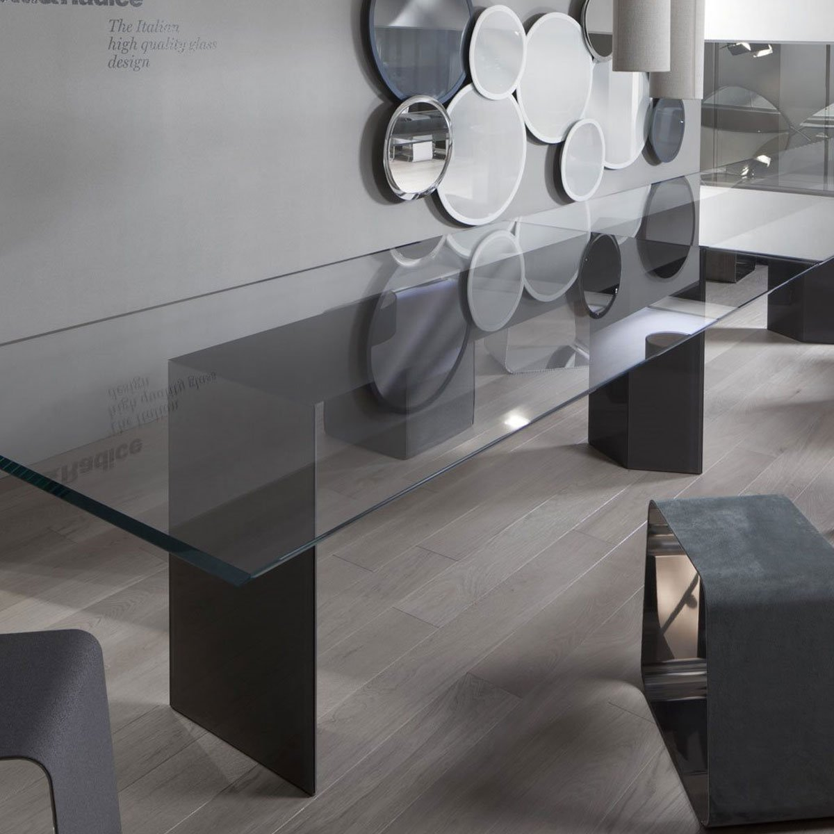 Dolm glass table by gallotti radice klarity glass for All glass dining room table
