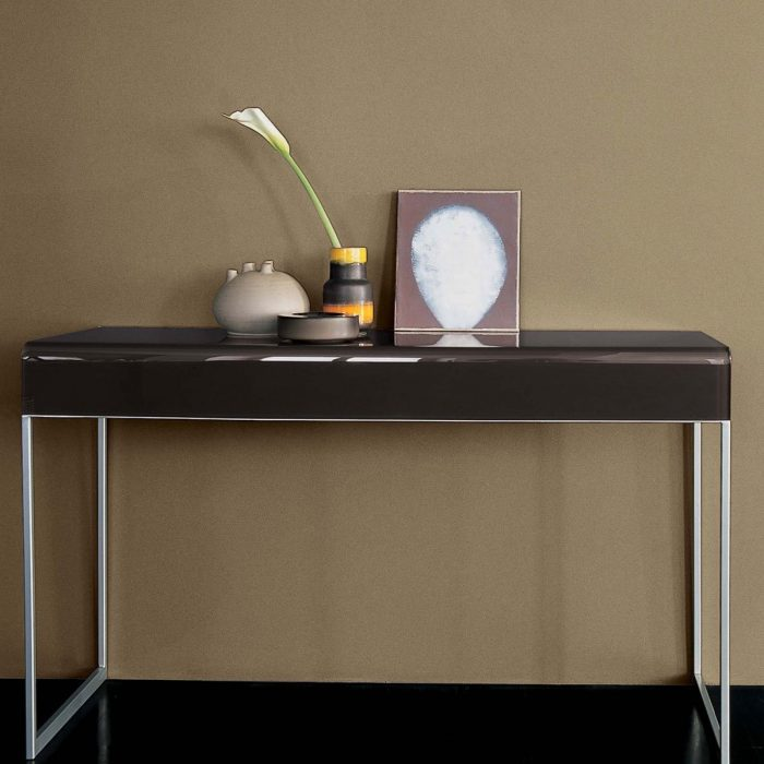 Hall glass console table with drawer by sovet italia klarity for Metal and glass console tables
