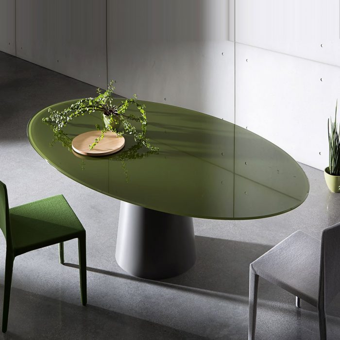 glass and metal dining table - sovet italia