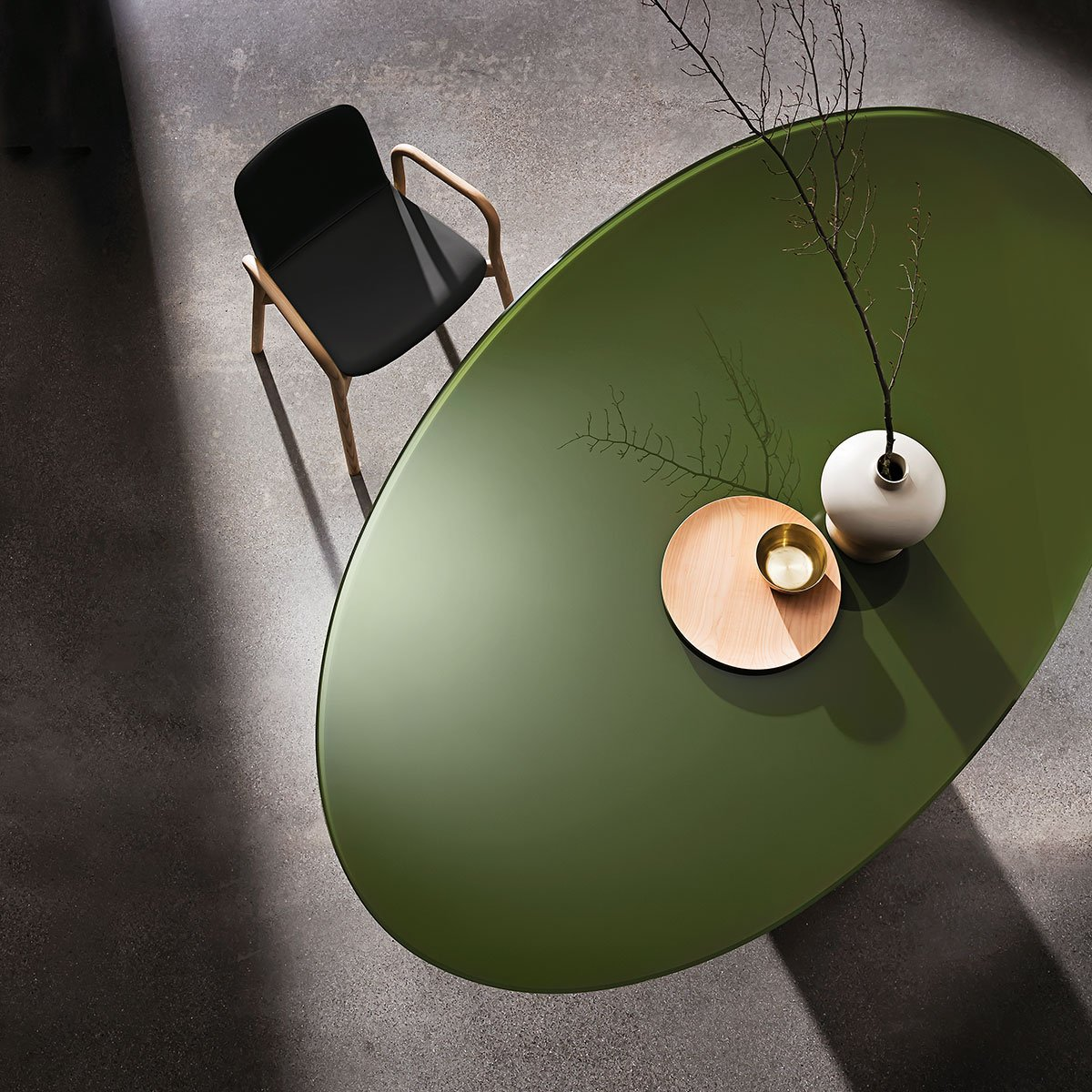 glass and metal dining table sovet italia - totem
