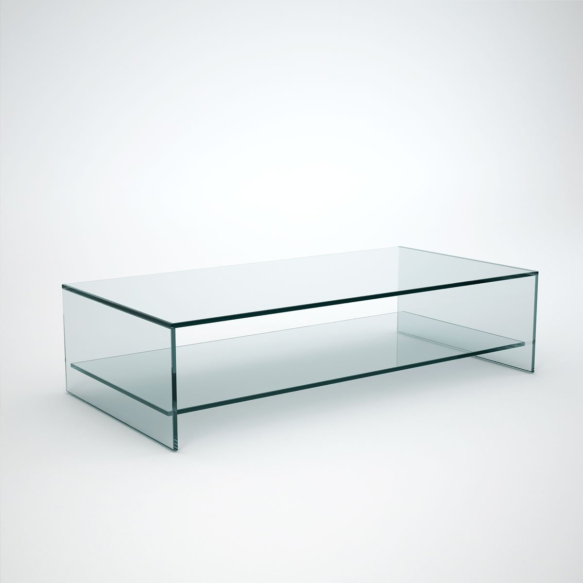 Judd rectangle glass coffee table with shelf klarity glass furniture Coffee table with shelf