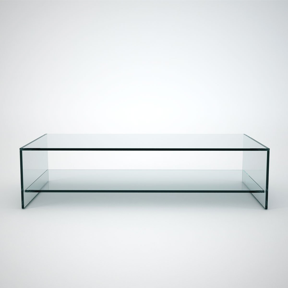 Judd Rectangle Glass Coffee Table With Shelf Klarity Glass Furniture
