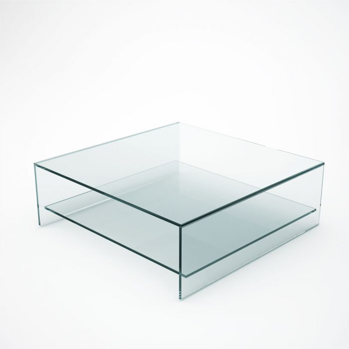 Square Glass coffee table with shelf