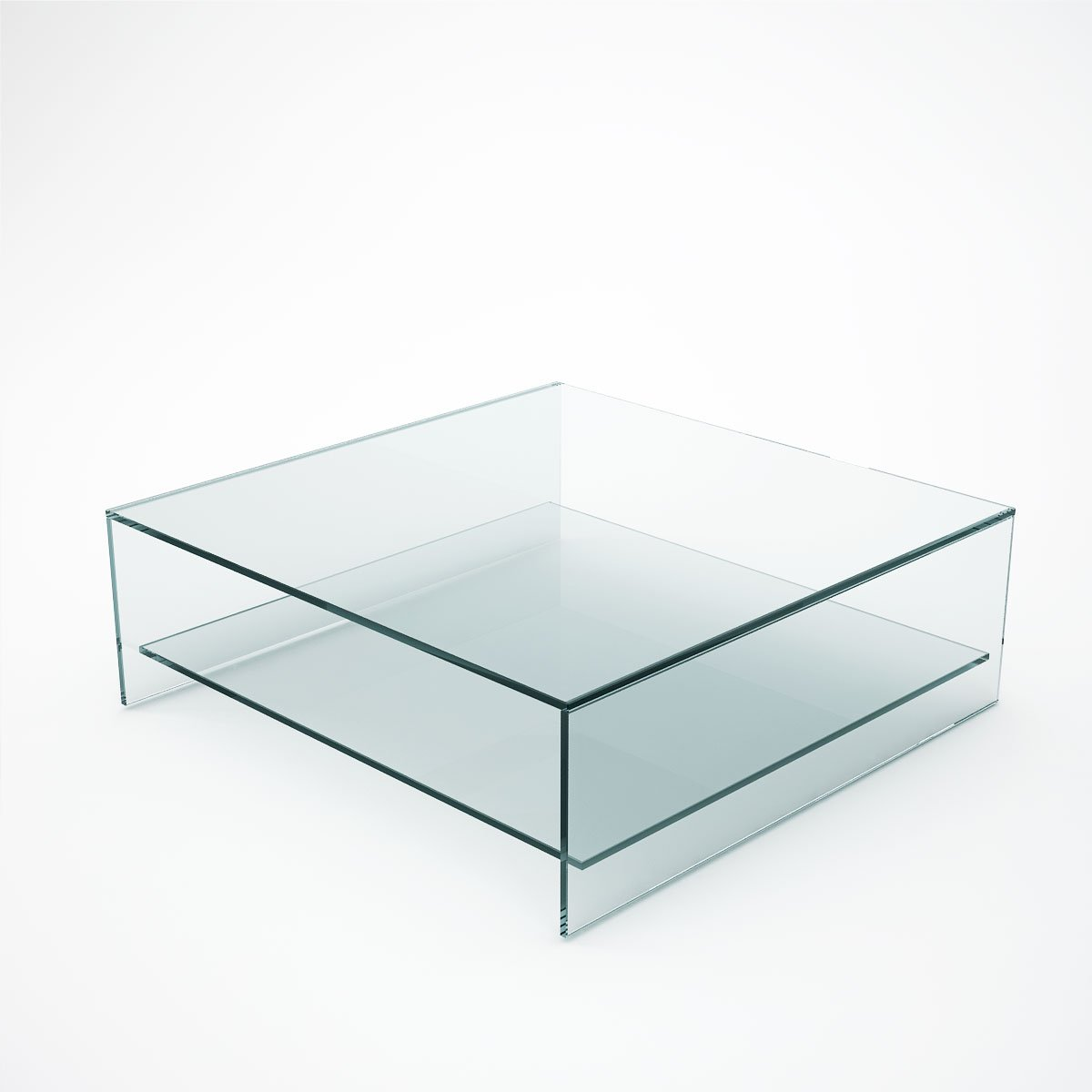 Judd square glass coffee table with shelf klarity for Glass furniture