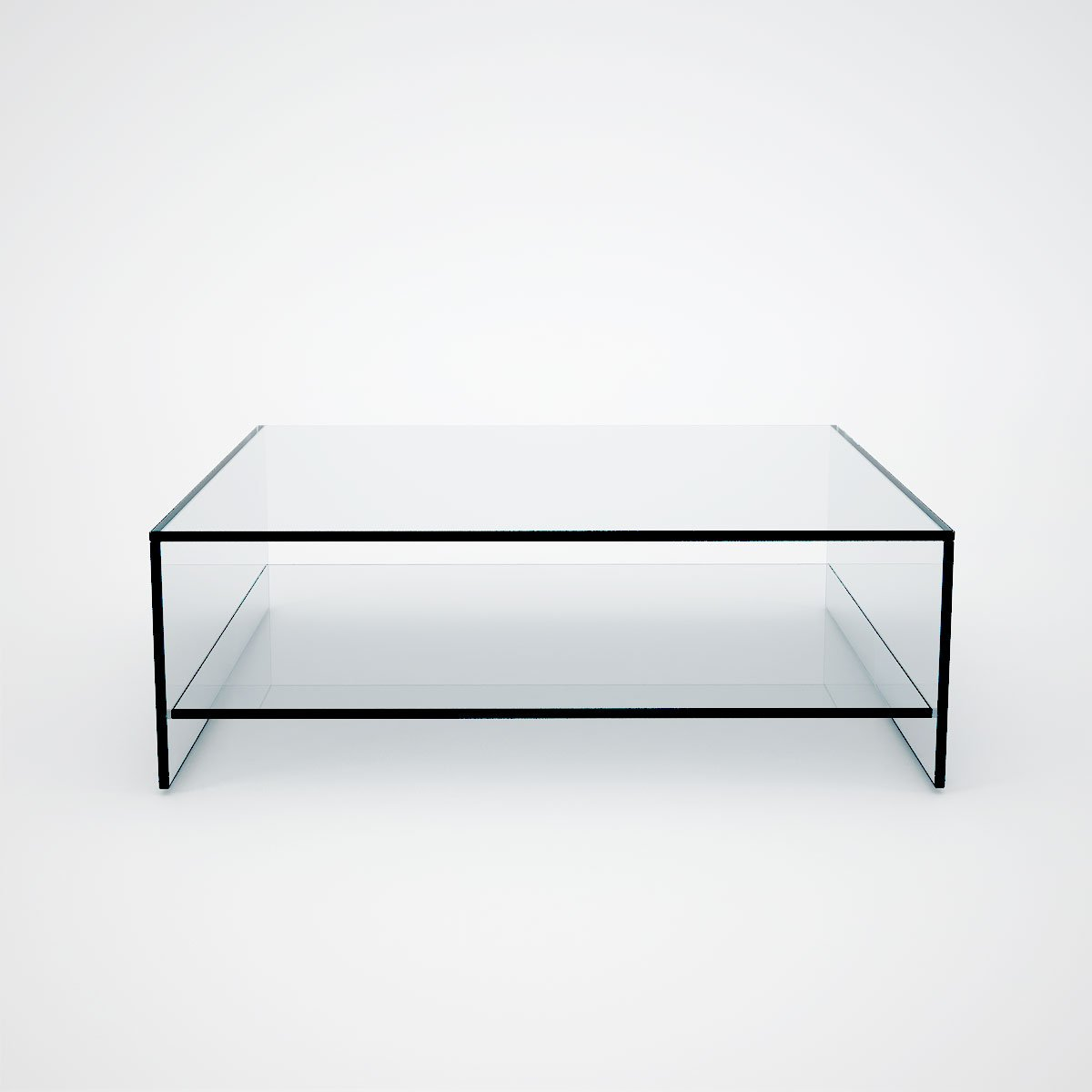 Judd Square Glass Coffee Table With Shelf Klarity Glass Furniture