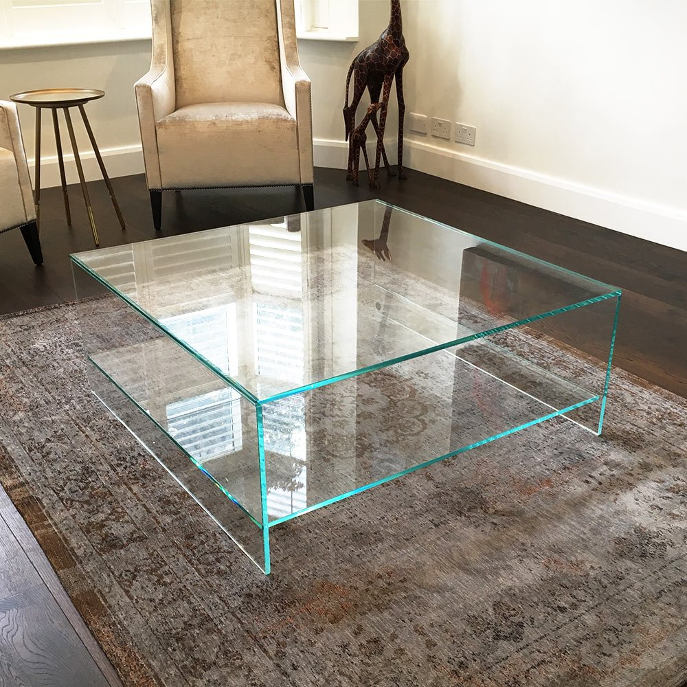 Judd square glass coffee table with shelf klarity for Large glass table top