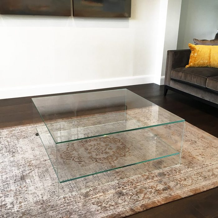 glass coffee table with shelf - judd