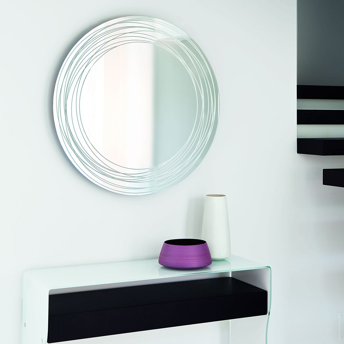 Vertigo mirror klarity glass furniture Mirror glass furniture