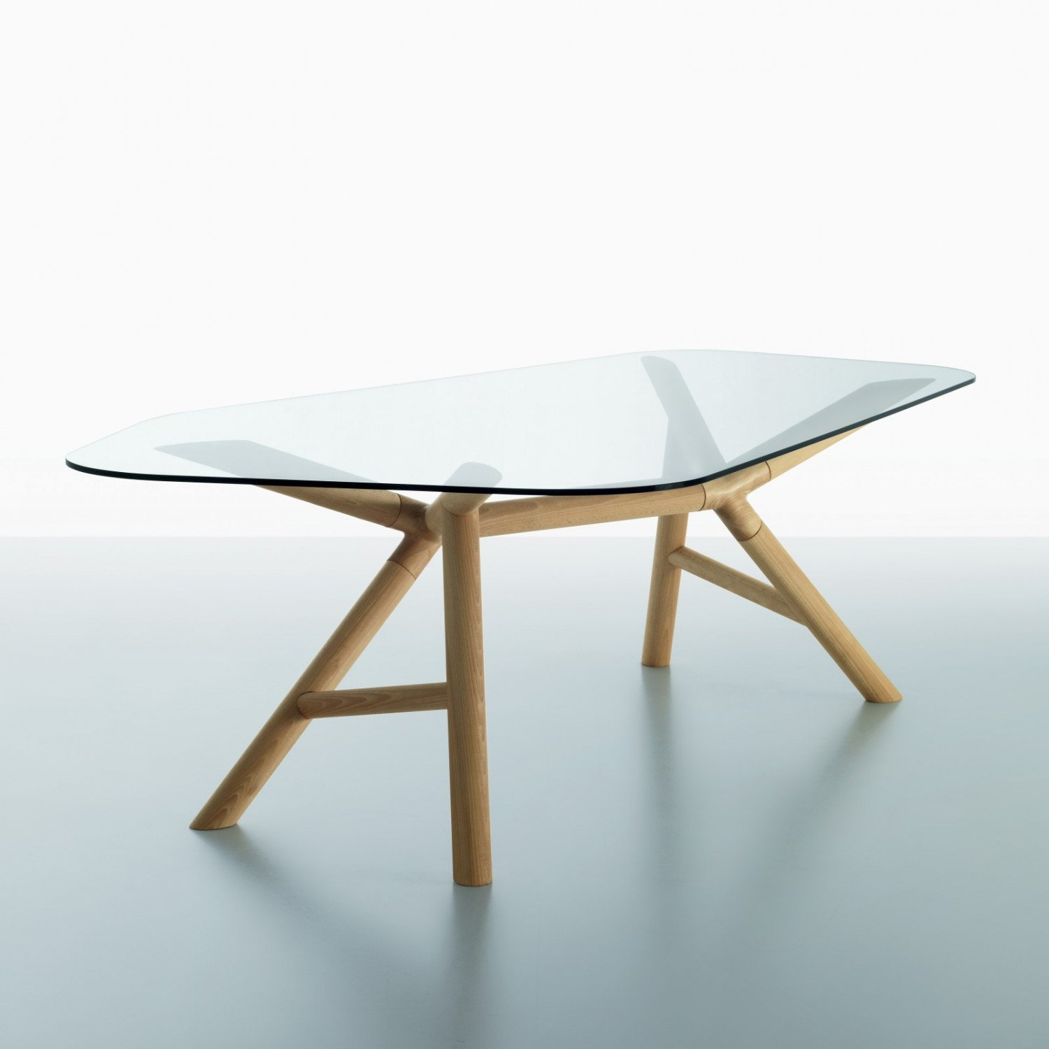 Otto wood and glass dining table klarity glass furniture for Dining table designs in wood and glass