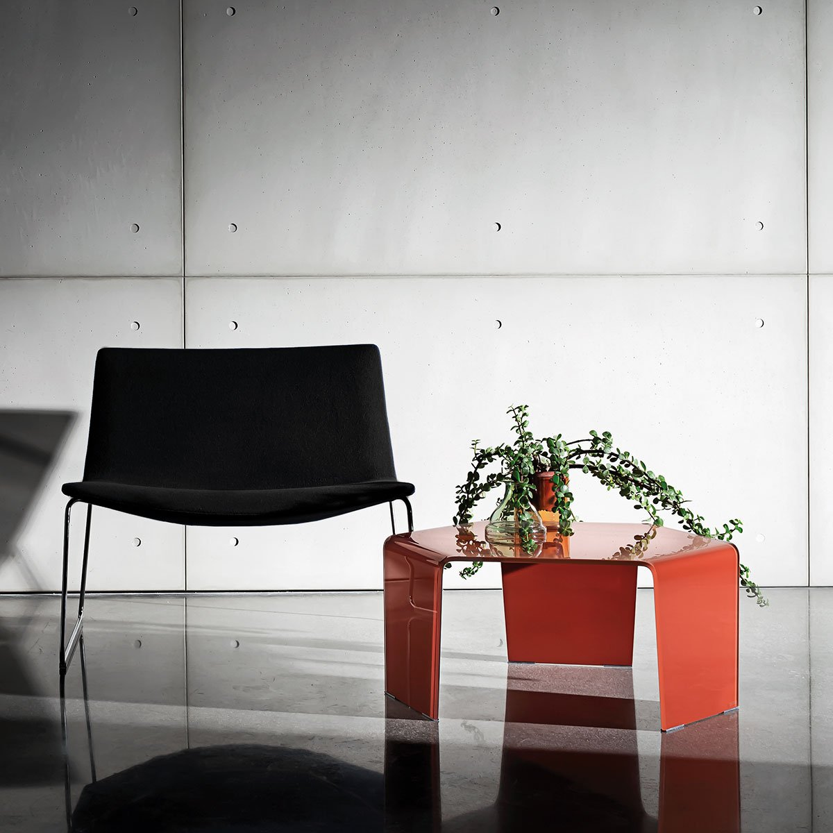 orange glass coffee table