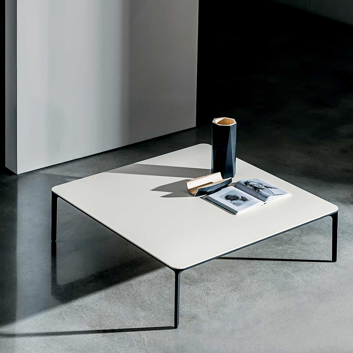 Slim Glass And Metal Coffee Table Klarity Glass Furniture