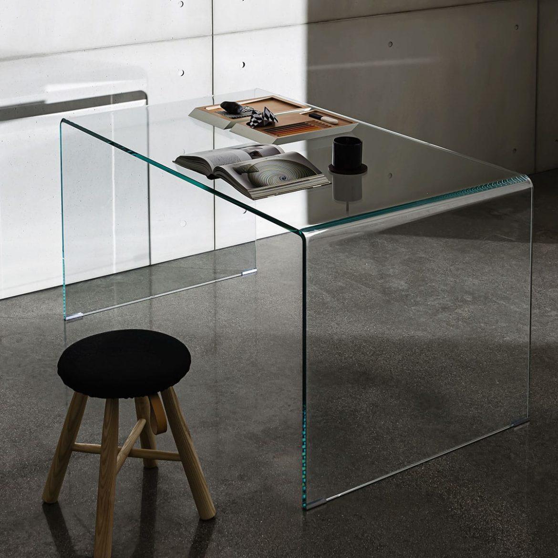 Bridge curved glass desk