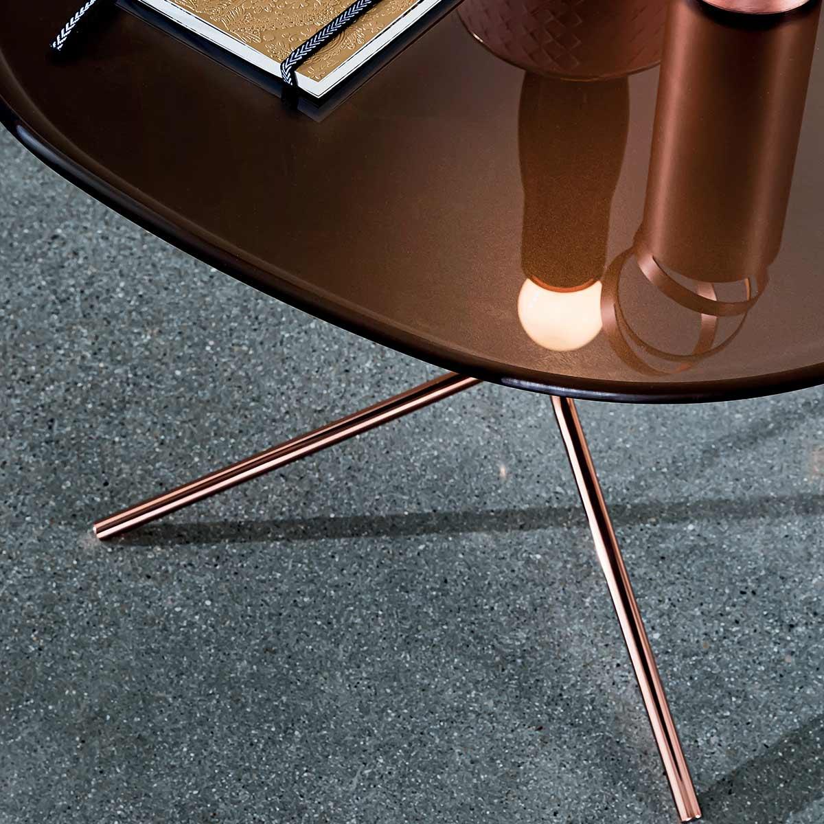 circular glass and cooper coffee table