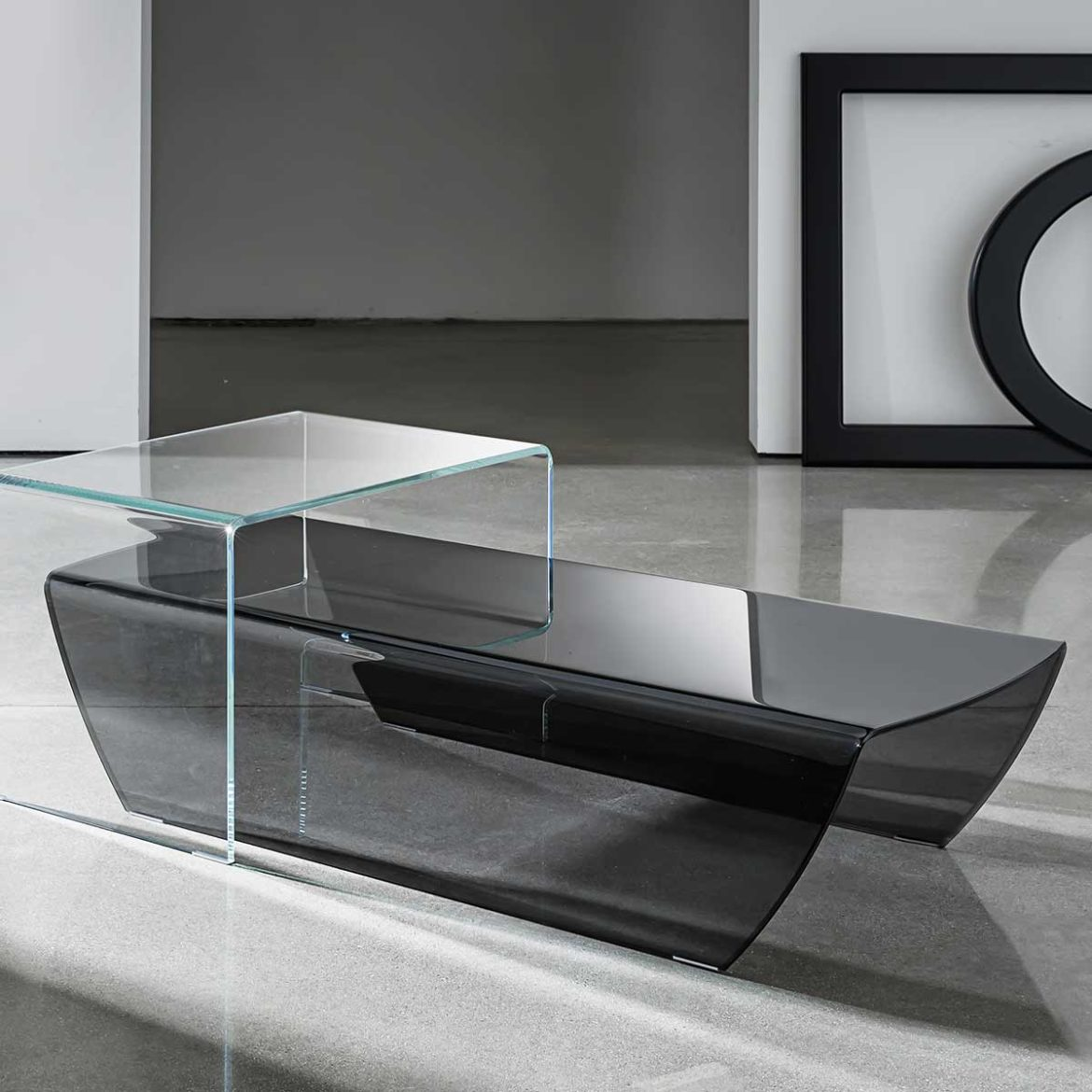 curved glass coffee table