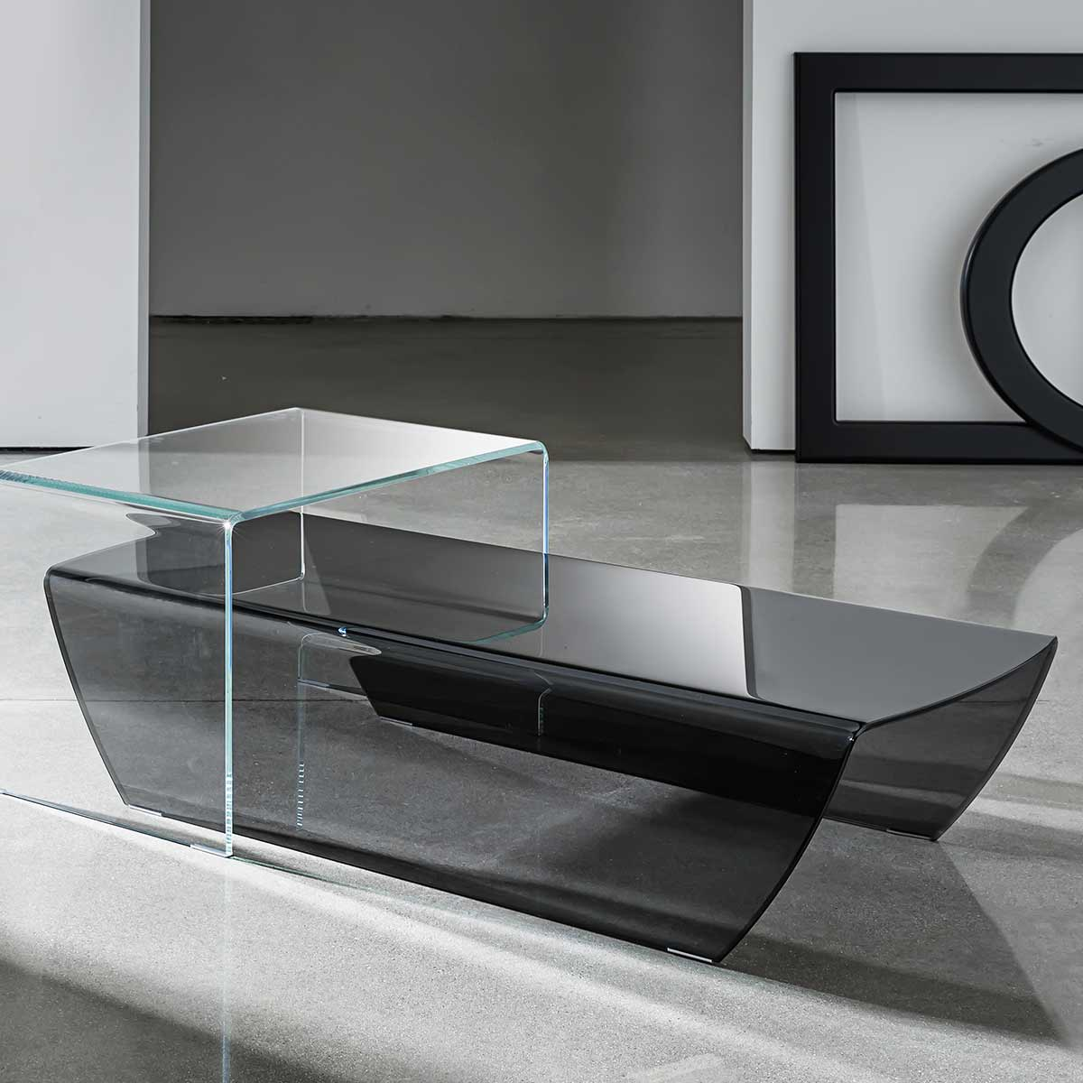 White glass coffee table - Curved Glass Coffee Table