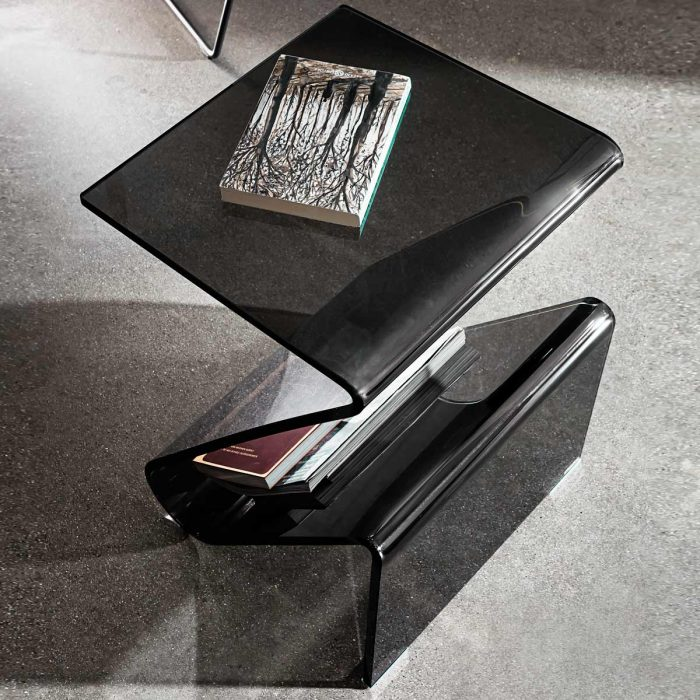 curved glass coffee table smoked sovet italia zeta