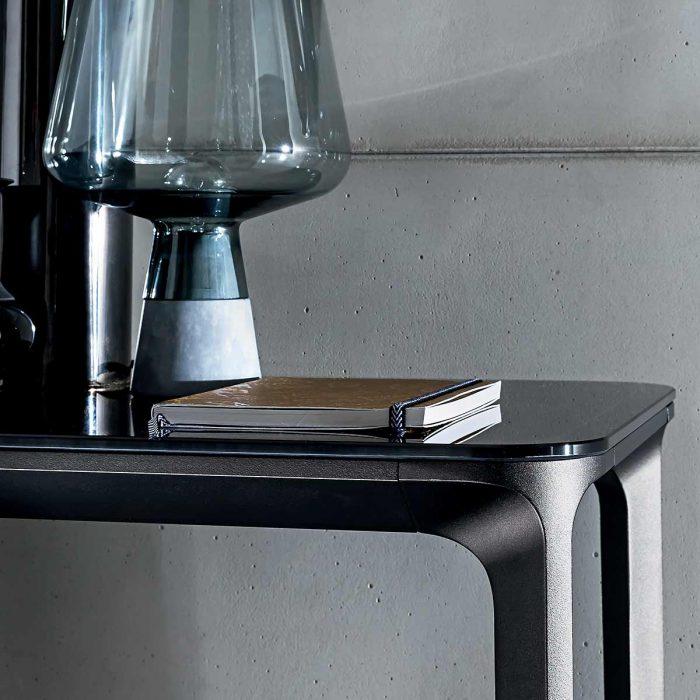 glass and metal coffee table black
