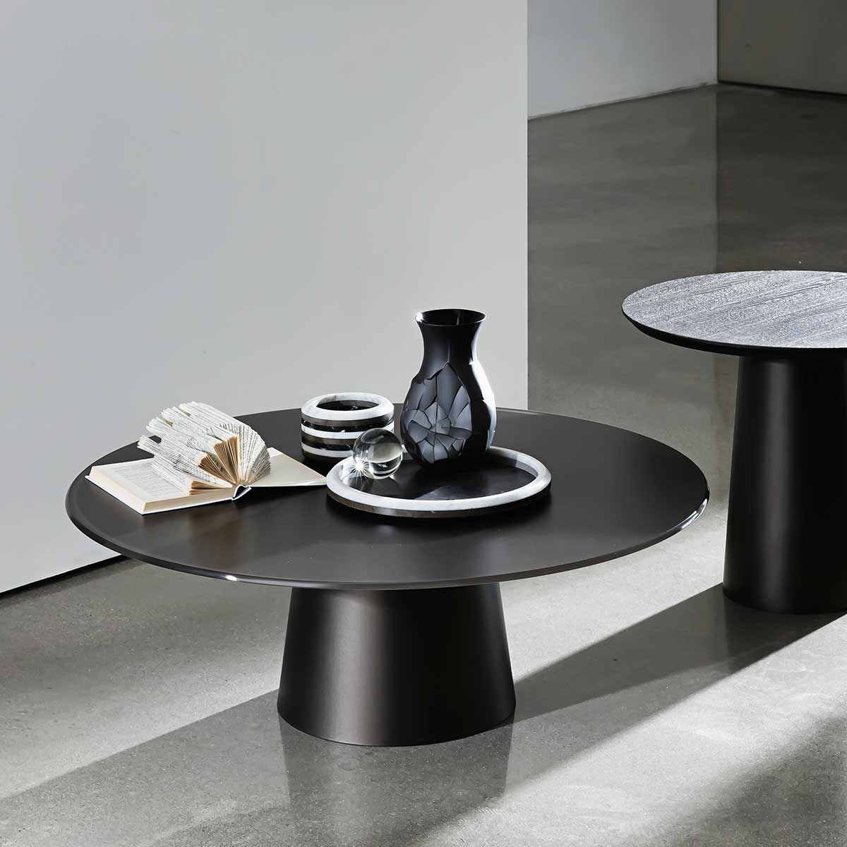 circular glass and metal coffee table