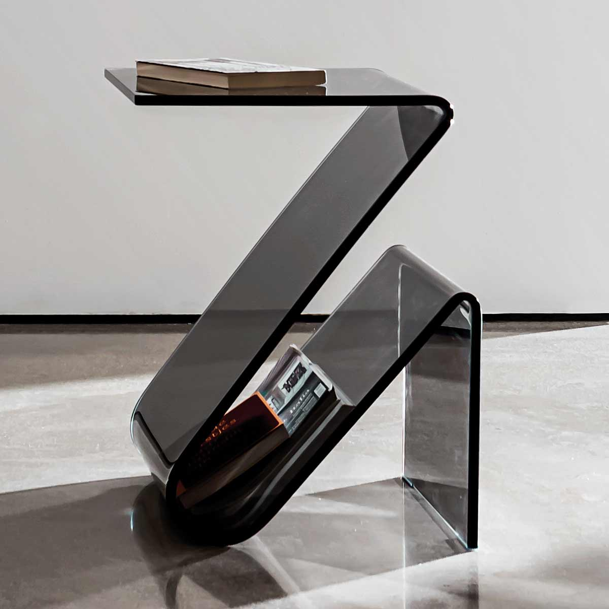 smoked glass curved glass side table sovet italia