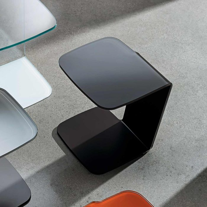 black curved glass coffee table