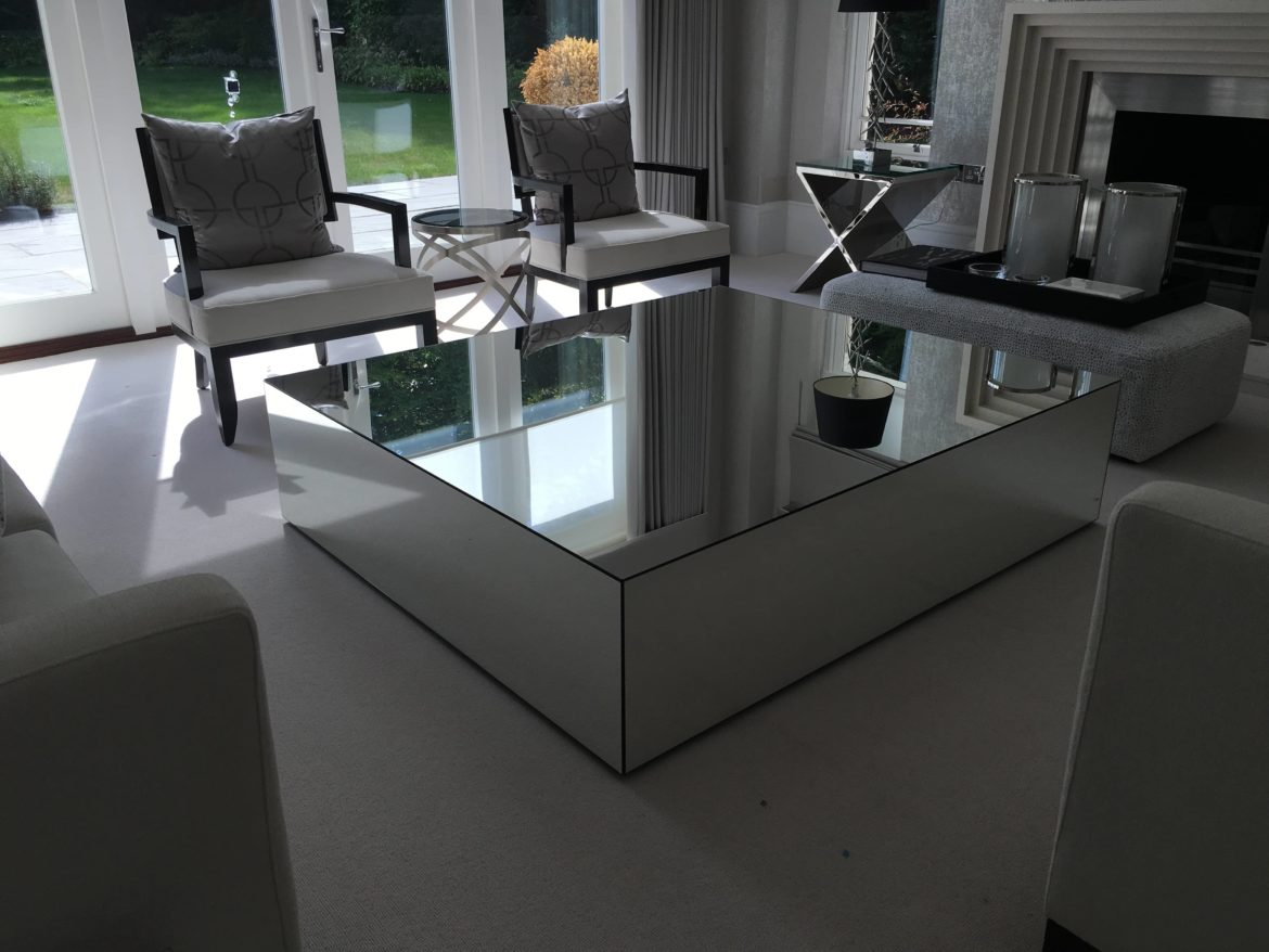 Large mirrored coffee table