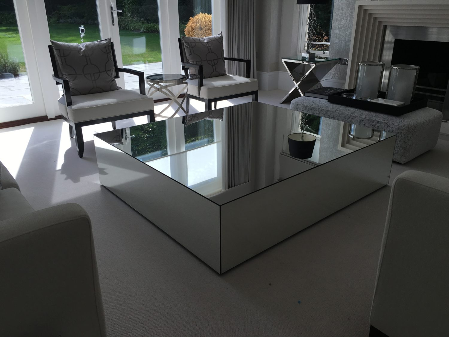 Mirrored coffee tables klarity glass furniture Mirror glass furniture