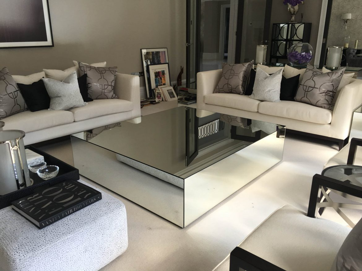 Mirrored coffee tables klarity glass furniture for Glass furniture