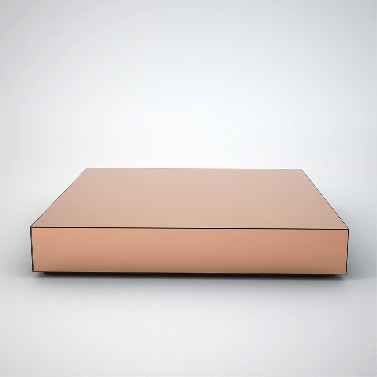 copper mirrored coffee table large square