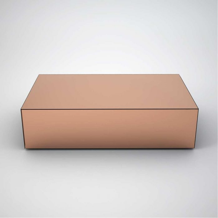 Copper Top Rectangular Coffee Table: Mirrored Coffee Tables