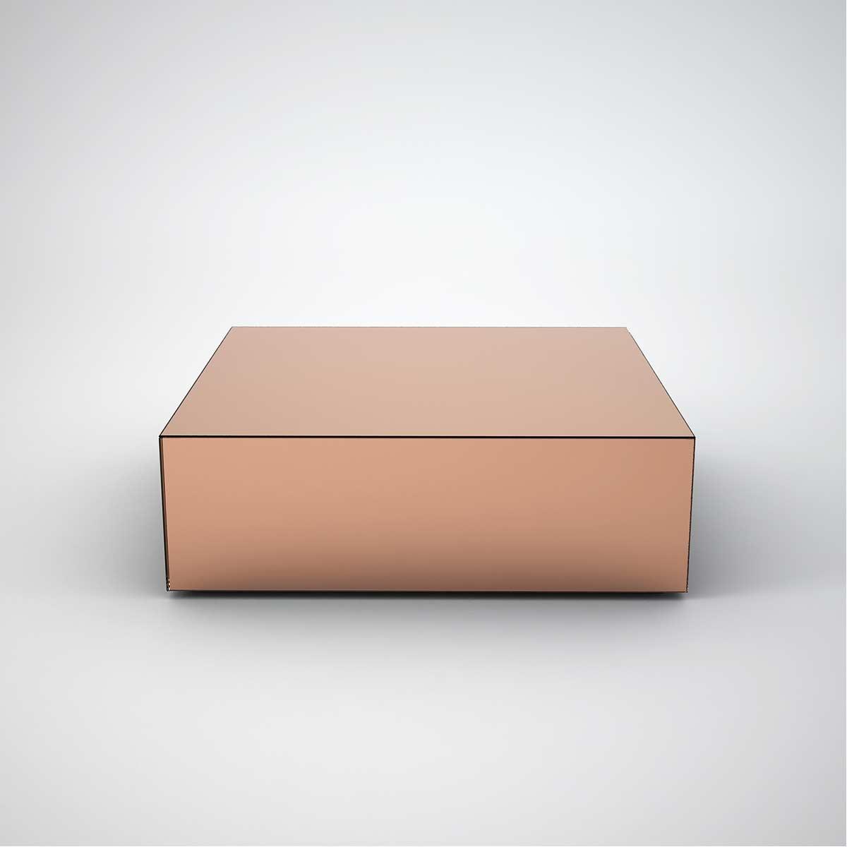 copper mirrored coffee table square