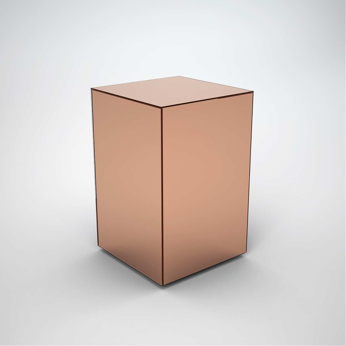 copper mirrored side table