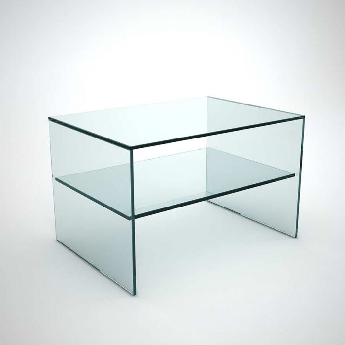 Quebec Grey Tint Glass Side Table by Klarity Klarity