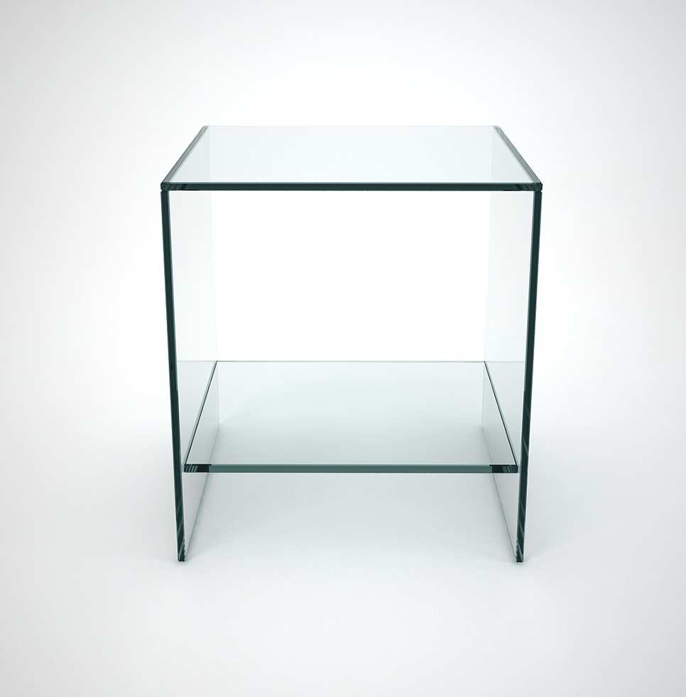 Judd Glass Side Table With Low Shelf Klarity Glass Furniture