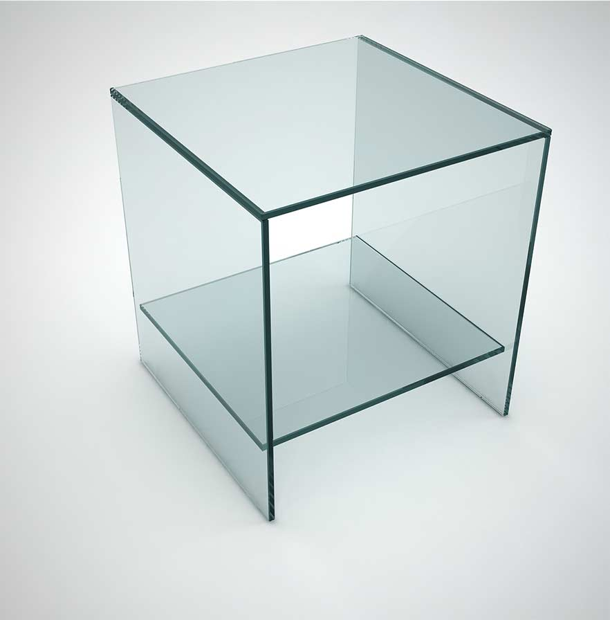 Judd glass side table with low shelf klarity glass for Glass furniture